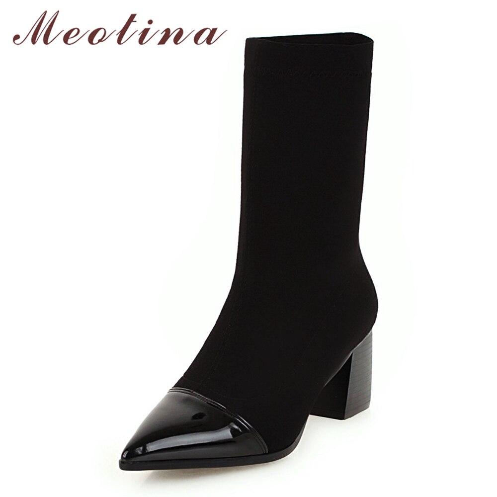Meotina hiver bottes chaussures femmes élastique mi-mollet bottes tissu bout pointu carré talon bottes automne chaussures noir grande taille 9 10