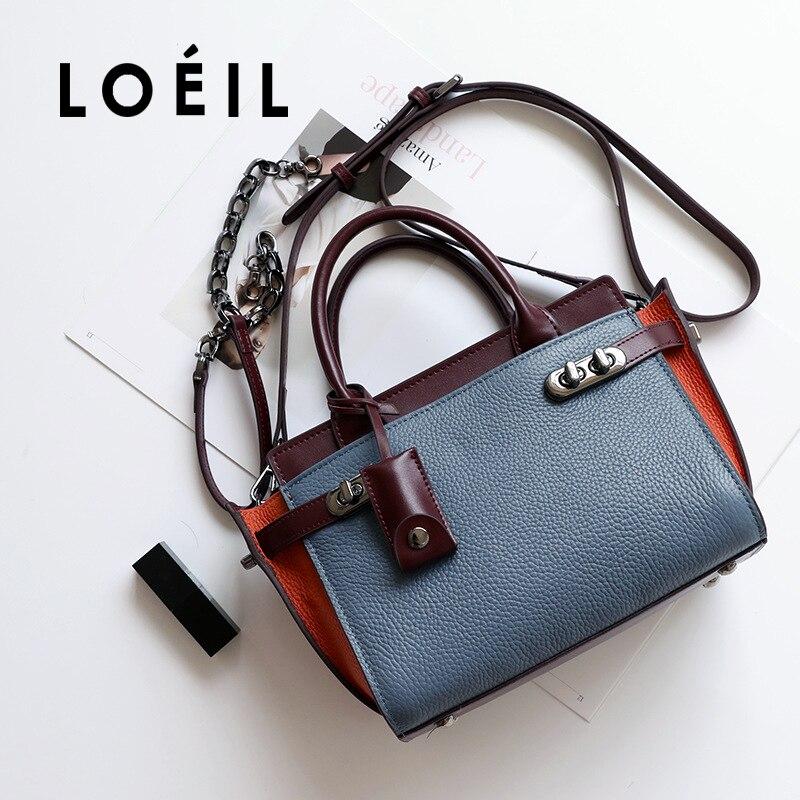 LOEIL The first layer of leather color contrast wings bag fashion wild handbag lock buckle bat bag shoulder slung female bag tid