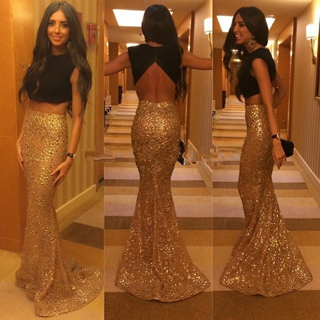 Wholesale 2017 Two Pieces Long Mermaid Prom Dress Black and Gold Scoop Long  Mermaid Sequins Evening Dress 8423e3f4f20f