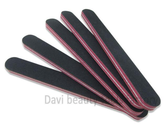 50pcs Lot Straight Black Sandpaper Nail File 100 180 80 Grit Red