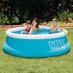 Intex, Piscina redonda hinchable familiar de 1,83 m, piscina ecológica para niños y adultos, piscina de juegos al aire libre para bebés con cubierta