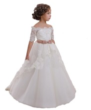 First Communion Dress Hollow Back Lace Up Appliques Half Sleeves Bow Shoulderless Ruffle Little Girl Christmas Tulle Ball Gown