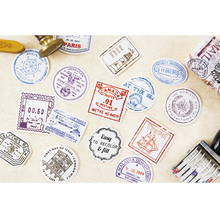 45pcs/box Cute Travel Stamp Postmark Diary Decoration Stickers DIY  Scarpbooking sealing Label Sticker Children Stationery