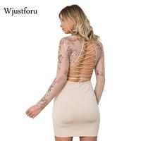 Wjustforu Autumn Women Sexy Pary Dresses Sequined Deep V Neck Bandage Mini Dress Backless Mesh See Through Dress Vestidos Mujer