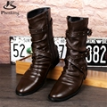 Microfiber big shoes US size 9 designer vintage High boots men shoes pointed toe handmade black brown 2017 sping with fur
