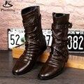 Microfibra grandes zapatos de tamaño EE.UU. 9 diseñador vintage botas Altas zapatos de los hombres punta estrecha hecha a mano negro marrón 2017 sping con de piel