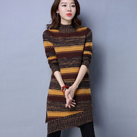 Women Sweater Korean Style 2017 Autumn And Winter Plus Size Loose Pullover Sweater Female Stripe Knitted