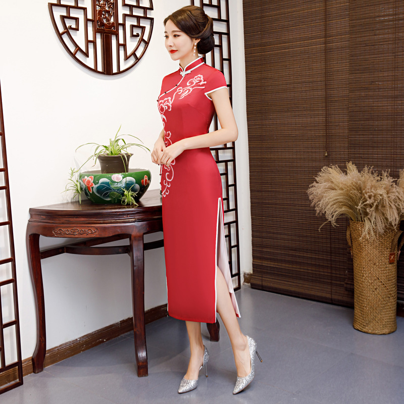 New Traditional Chinese Women's Elegant Long Lady Qipao Silm Dress Oriental Female Cheongsam Sexy Dress Clothing Plus Size 3XL