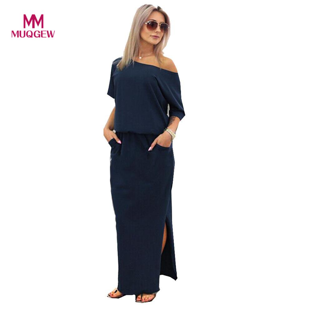 2018 Women new Summer Short sleeve Maxi dress BOHO Round neck Evening Party Dress with Pocket dress Cotton blend robe femme