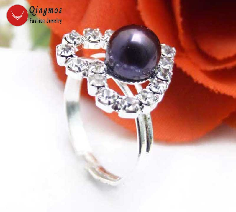 Qingmos 15mm Heart Natural Pearl Ring of Women with Natural 7mm Black Flat Round Pearl Opening Adjustable #8-#9 Ring Jewelry R21