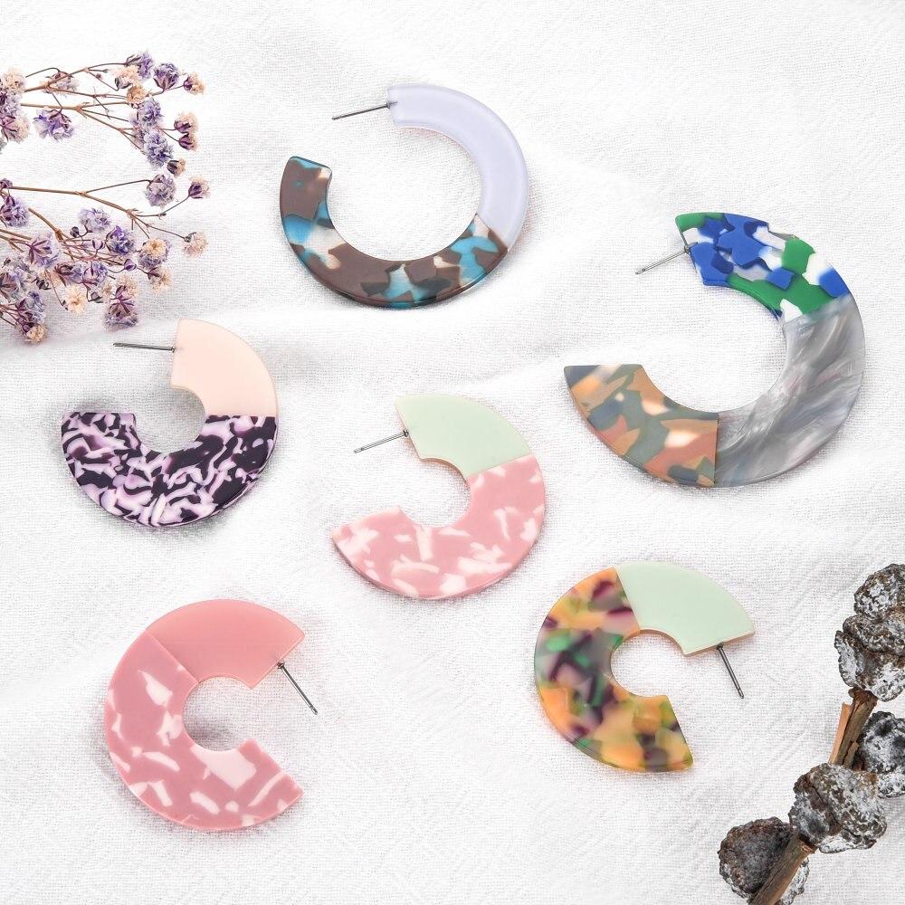 Модные Акриловые Черепаховые серьги многоцветные Уксусные ДУГИ C образными сережками геометрические круглые серьги минималистичные купить на AliExpress