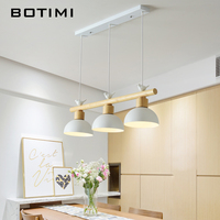 BOTIMI Nordic LED Pendant Lights With Metal Lampshade For Dining Room Birds Pendant Lamp Hanging Lustre White Luminaire Lighting