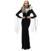 2017 Adult Women Halloween Queen Costume Witch Long Sleeve Dress Black Party Stand Collar Outfit Fancy