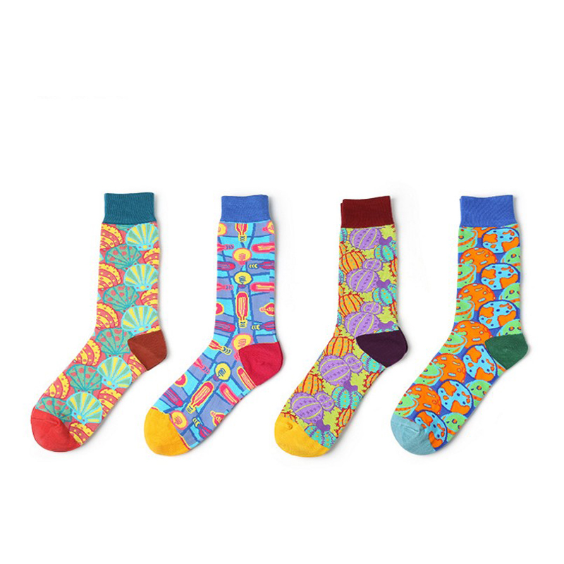 Happy funny art Sock women and men autumn winter Novelty Ankle Cotton Socks multi-color Socks CREW unisex spring long socks