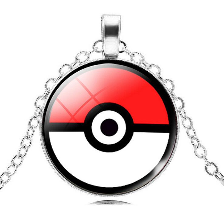 Vintage Silver Plated Pendant Necklace Pokemon Go Jewelry Round Glass Women Ornaments Anime Pendant Necklace Jewelry!