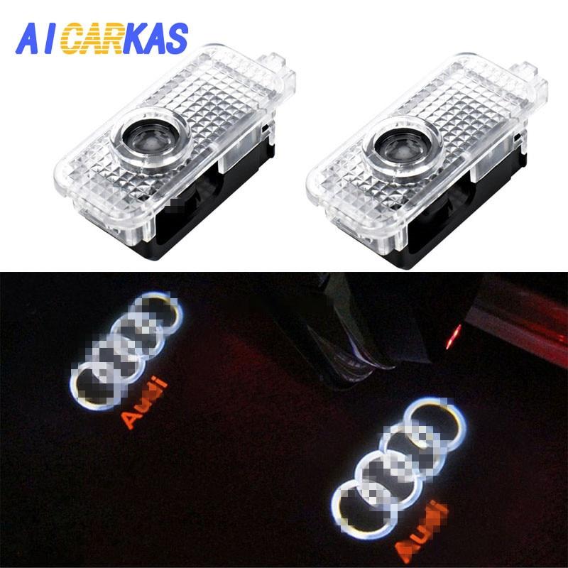 цена на AICARKAS 2 PCS Audi Car Door LED Logo Light Welcome Lamp for Audi Q7 A3 Q3 A6L A7 A8 Audi Projector laser Logo Door light
