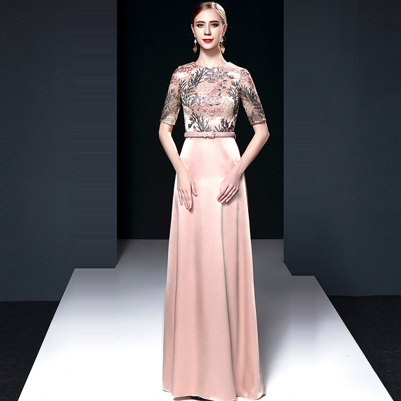 Evening Dress O-neck Women Party Dresses Embroidery Robe De Soiree 2019 Zipper Plus Size Half-sleeve Elegant Formal Gowns E711