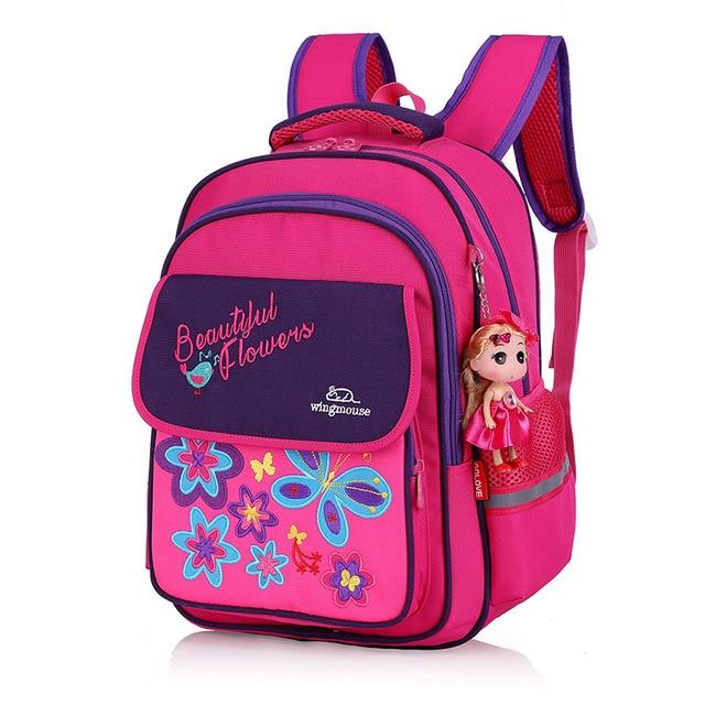 0842e1adcb 3D Embroidery Flower Girls Backpacks Kids Satchel Children School Bags for  Girls Orthopedic Backpack Child School Bag
