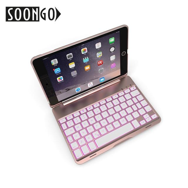SOONGO 7.9 Inch Wireless Bluetooth Keyboard Cover for ipad mini4 Clamshell Backlit Keypad for Apple ipad mini4 Tablet Keyboard