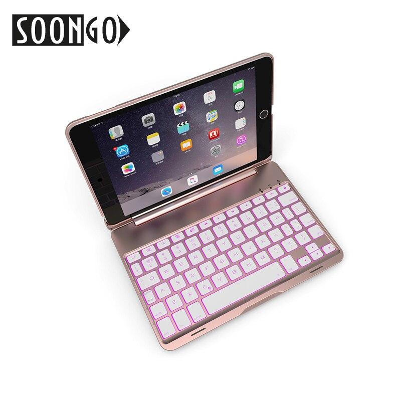 SOONGO 7.9 pouces sans fil Bluetooth clavier couverture pour ipad mini4 à clapet rétro-éclairé clavier pour Apple ipad mini4 tablette clavier