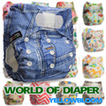 Baby Washable Reusable Real Cloth STANDARD Hook-Loop Pocket Nappy Diaper Cover Wrap, suits Birth to Potty One Size 0-3yrs