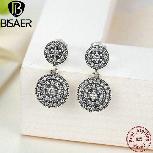 4111df57c Authentic 100% 925 Sterling Silver Earrings Radiant Elegance Round Drop  Earrings For Women Sterling Silver Jewelry GOS471