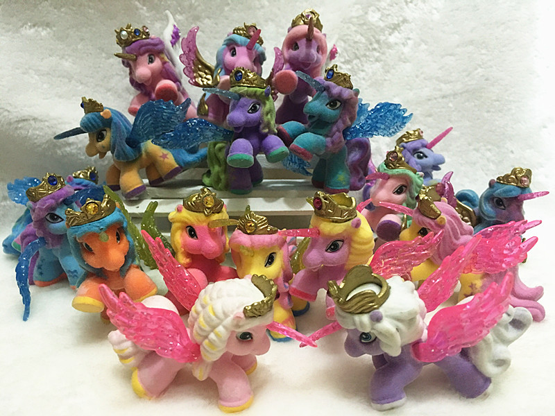 O for U Big 5CM 10Pcs/lot Flocking Filly Horses Filly Stars With Wings Series Little Horse Dolls Collection Action Doll Toy ...