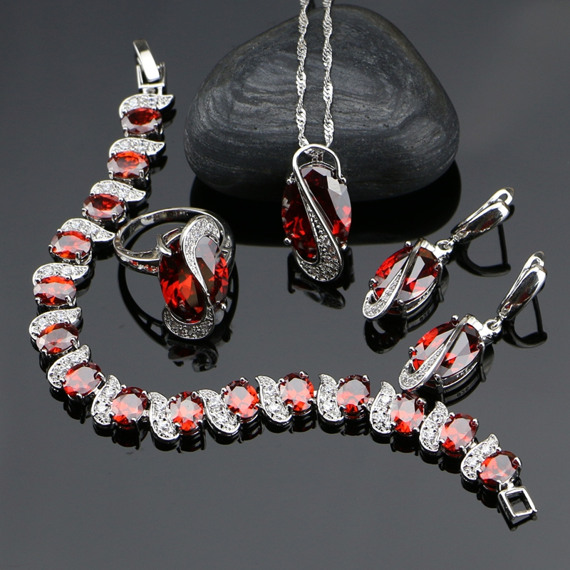 925 Silver Jewelry Red Cubic Zirconia With White Beads Jewelery Sets For Women Bracelet/Earrings/Ring/Pendant/Necklace viennois new blue crystal fashion rhinestone pendant earrings ring bracelet and long necklace sets for women jewelry sets