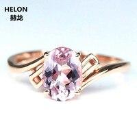 SOLID 14 К розовое золото 5x7 мм овальной огранки природных морганит Обручение обручальное кольцо Юбилей вечерние Fine Jewelry
