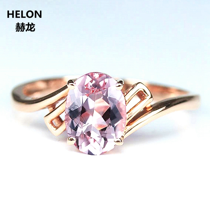 Solid 14k Rose Gold 5x7mm Oval Cut Natural Morganite Engagement Wedding Ring Anniversary Party Fine Jewelry solid 14k white gold rose gold natural diamonds 5x7mm pear morganite ring wedding engagement fine jewelry