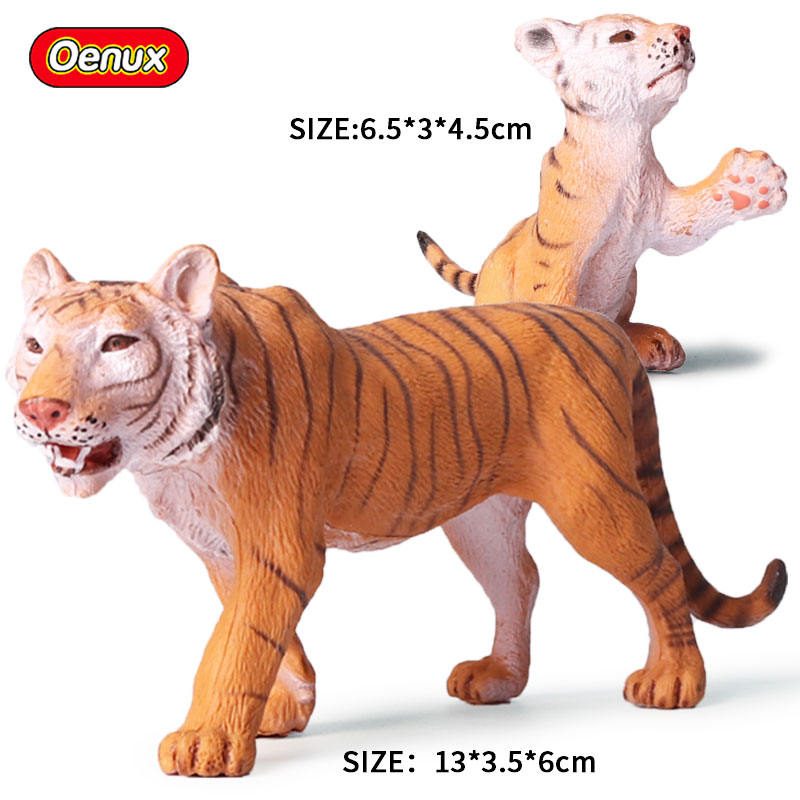 Oenux 2PCS Classic Savage Wild Tiger Simulation Animals Baby Tigers Action Figures Solid PVC Model Collection Toys For Kids Gift