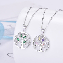 Genuine sterling silver 925 colorful tree of life necklace in jewelry pendant necklace chain necklace with CZ for women hot sale sterling silver 925 palm devil s eyes necklace in jewelry pendant necklace dangle with cz chain necklace for women