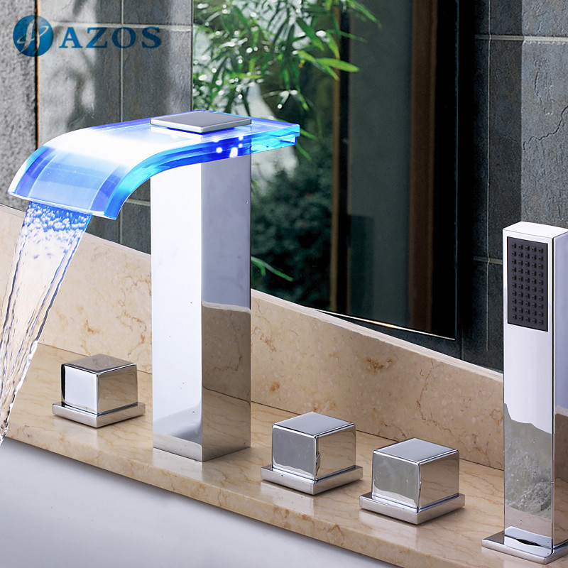 Bathtub Faucets LED Glass Waterfall Spout Light Bathroom Suana 5pc Sets Showerhead,Diverter,Two Handles,Shower Hose YGWJ033