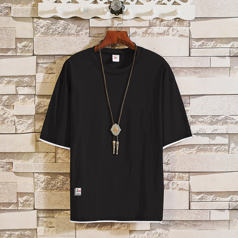 2019 New trend short-sleeved t-shirts in summer men's round-collar fake two half-sleeved shirts Korean version leisure MP94 5