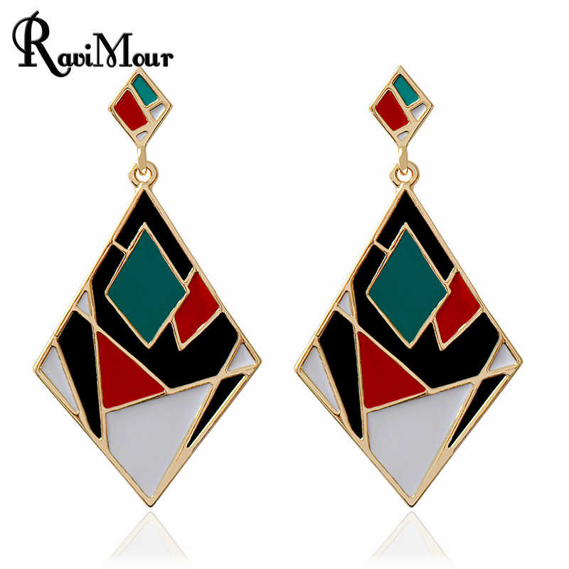 RAVIMOUR Long Earrings for Women Fashion Jewelry Brincos Punk Enamel Drop Earing Geometric Boucle D'oreille Femme Bijoux