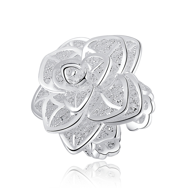 R116 Christmas hot wholesale retro three layers flowersilver plated ring high quality fashion classic Jewelry