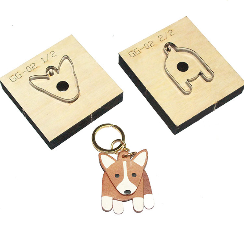 Japan Steel Blade 2pcs/set 42x55mm Wooden Die Corgis Dog Pendant Leather Craft Punch Hand Tool Knife Mould Sewing Accessories