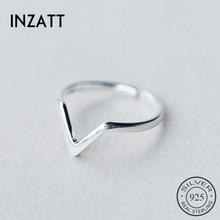 INZATT, настоящее 925 пробы, серебряное, Геометрическая волна, с буквой V, регулируемое кольцо, хорошее ювелирное изделие для женщин, вечерние, индивидуальные аксессуары