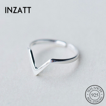 INZATT Real 925 Sterling Silver Geometric Wave Letter V Adjustable Ring Fine Jewelry For Women Party Personality Accessories