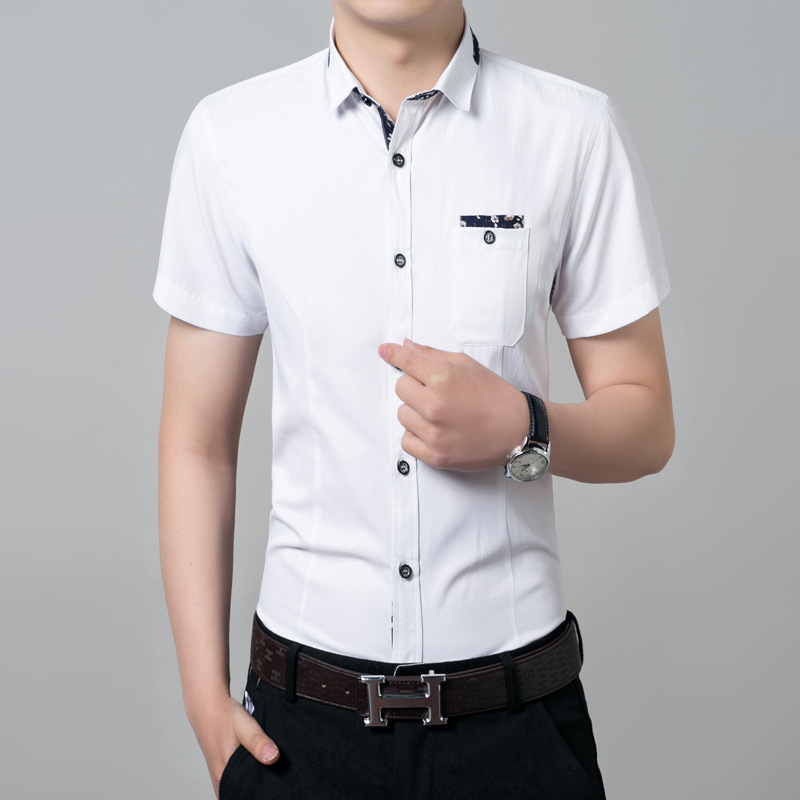 Online 2017 New Summer Men S Short Sleeve Shirt Casual Fashion Dress Shirts For Man Slim Fit White Iron Half Large Size Aliexpress Mobile