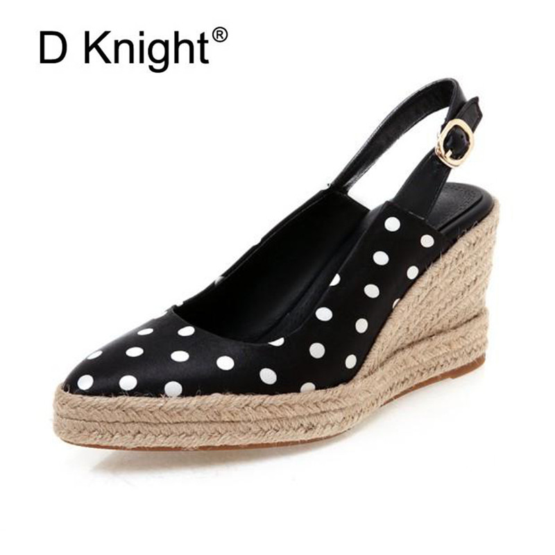 Sexy Buckle Strap High Heels Sandals Black Shallow Platform Shoes Plus Size 32-44 White Ladies Wedge Slingback Pumps Espadrilles