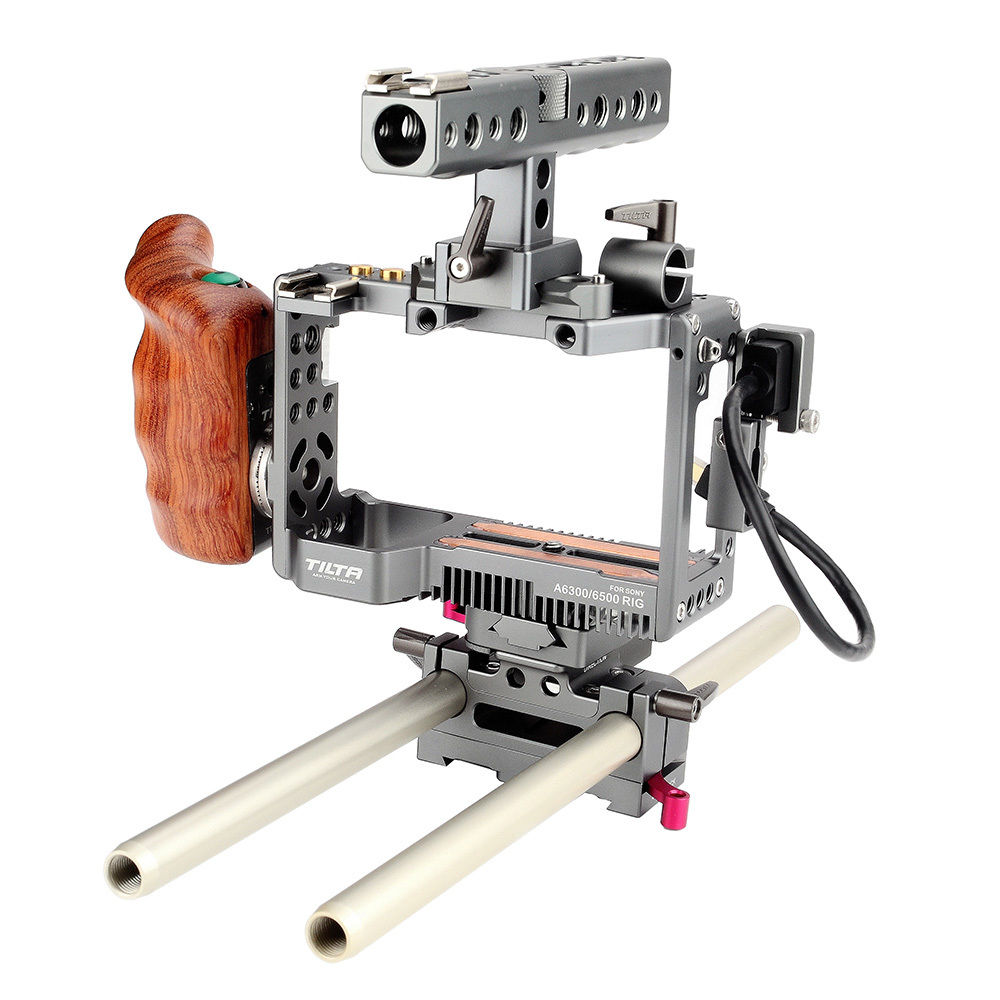 TILTA Rig for Sony A6000 A6300 A6500 Camera Rig Handheld Cage Baseplate Top handle Wooden handle Cooling Fan ES-T27 ES-T27-A sony a6500