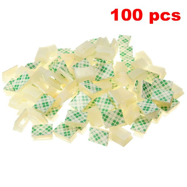 Newest 100Pcs Car Wire Tie Clips Cord Cable Flat Holder Fixer Organizer Drop Adhesive Clamp White Favorable Price 2017 new 30pcs set car tie clips organizer drop adhesive clamp wire cord clip cable holder