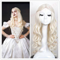 Alice in Wonderland White Queen Wig Women Girl's Long Curly  Movie Cosplay Wig Party Wig