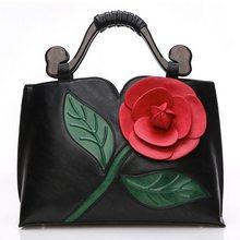 Große Rose Blume Frauen Leder Handtaschen Luxus Marken Qualitätsfrauen Messenger Bags Vintage Frauen Umhängetasche Damen S-47
