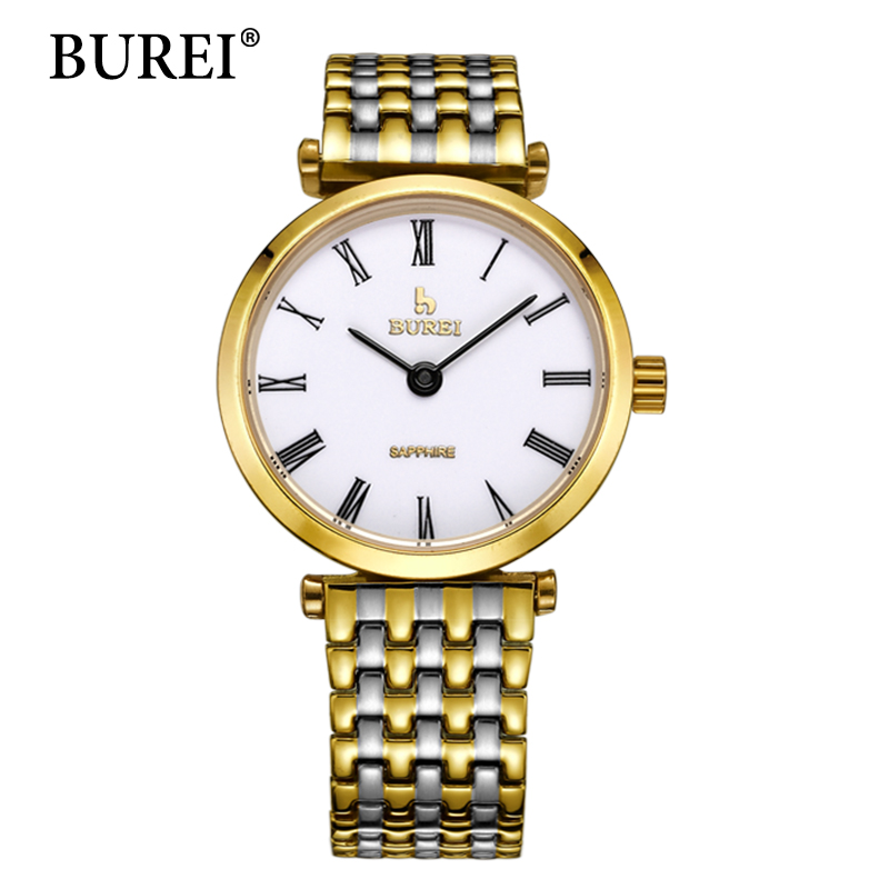 BUREI Gold Watch Women Top Fashion Brand Watches Steel Strap Female Clock Sapphire Lens Waterproof Quartz Wristwatches Hot Sale 2017 burei men watches top brand fashion clock genuine leather strap casual saat erkekler watch waterproof wristwatches hot sale