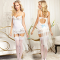 New Porn Women Lingerie Sexy Hot Erotic Lingerie Sexy White Mesh Straps Bow Underwear Elastic See Through Nightgown