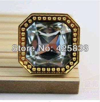 Glod K9 Crystal & Zinc Alloy Furniture Golden Finished & Clear Crystal Drawer Knobs & Handle