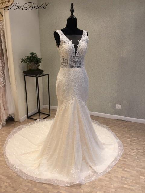 New Style Mermaid Backless Wedding Dresses 2018 V Neck Sleeveless ...