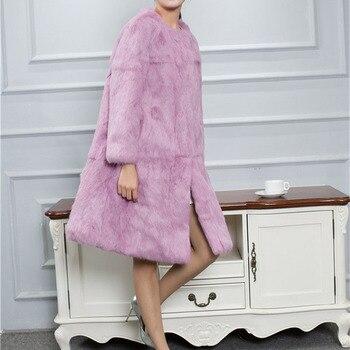 Loose fit wide bottom swing plus size natural rabbit fur coats outerwear women 90 cm long real fur jackets 2018 autumn winter